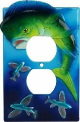 Dorado Electric Duplex Receptacle Switch Plate Cover Rustic Fishing Cabin Camp