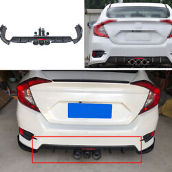 Rear Bumper Spoiler Canards 2-outlet Pipe For Honda Civic 2019-2020 Bright Black