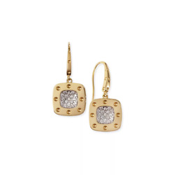 Roberto Coin 18k Yellow Gold Pois Moi Square Drop Earrings New And Authentic