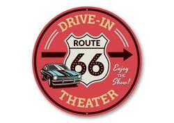 Route 66 Drive-in Theater This Way Sign, Route 66 Aluminum Sign