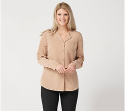 Denim And Co. Solid Woven Wing Collar Button Front Blouse-mocha-medium-new-a350035