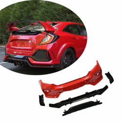For Honda Civic Type-r 2016-2020 Outer Rear Bumper Diffuser Board Guard Abs Red