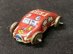 Vintage Tiny Tin Litho Miniature Red Metal Car Fire Dept. Chief Made In Japan