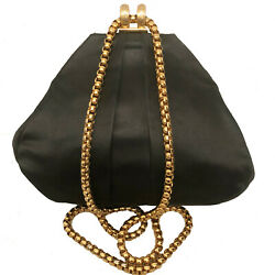 VINTAGE HENRI BENDEL BLACK SATIN EVENING BAG GOLD CHAIN $100.00