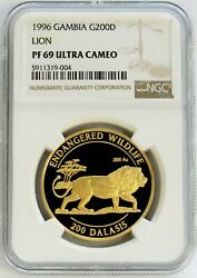1996 Gold Gambia 1000 Minted Endangered African Lion 200 Dalasis Ngc Pf 69 Uc