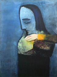 Charles Blackman Mother And Child Large Signed Limited Edition Print 100 X 75cm