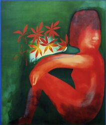 Charles Blackman Nude And Flowers Large Signed Limited Edition Print 100 X 85cm
