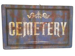 Halloween Metal Tin Sign Cemetery Antique Rusted Distress Ad New 15.5 X 9 5/8