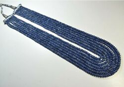 103-038 Blue Sapphire Natural Gemstone Rondelle Beads 520ct 16-19 Necklace