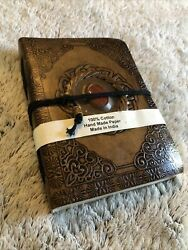 Handmade Genuine Leather Diary Journal W Real Jasper Stone 180 Cotton Pages