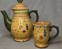 Bella Casa By Ganz Teapot And Cup Coffee Mug Rooster Orange Green