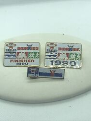 3 Vtg IRON KIDS Bread 1990 Triathlon LAPEL Cap HAT PIN