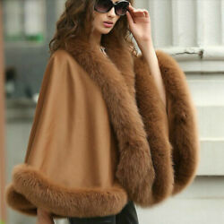 Real Cashmere Cape Coat Real Fox Fur Trim All Round Cloak Poncho Wraps For Party
