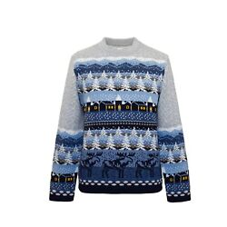 Pair Jumper Unisex Nordic Fair Isle Sweater With Landscape Christmas Gifts