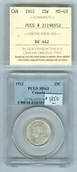 Canadian 25 Cents 1912 Iccs And Grade Pcgs-63 With Eyes Appeal.