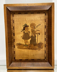 Vtg. Marquetry Wood Inlay Picture Rare 1940and039s Folk Art Tramp Art Wall Decor.