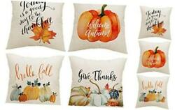 Fall Pillow Covers 18x18 Inch Set of 4 Harvest Pumpkins Leaves Autumn Holiday R