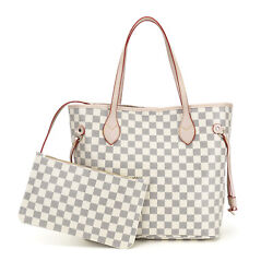 Luxury Checkered Tote Bag for Women Leather Shoulder Strap Inner Pouch White $85.99