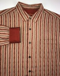 Tommy Bahama Silk Shirt Men#x27;s Large Long Sleeve Red Flip Cuff Button Down $35.00