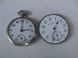 For Parts Or Repair Lot Of 2 Vintage Swiss Open Face Pocket Watches