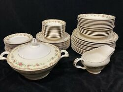 Semi Vitreous Floral Edwin M Knowles China Co 1940s Fine China Dinner Set 60 Pc