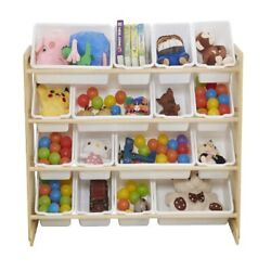 Wooden Kids#x27; Toy Storage Organizer with 16 Plastic BinsX Large Natural White