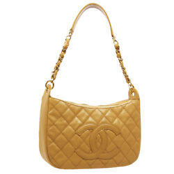 Quilted Cc Chain Hand Bag 8100439 Purse Beige Caviar Skin Leather 30312