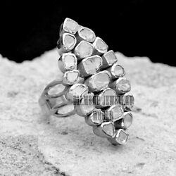2.59cts Clear Genuine Old Mine Antique Cut Diamond Silver Victorian Ring Jewelry