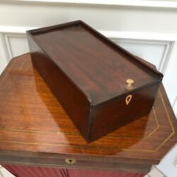 Antique English Jacobean Mahogany Hand Carved Dovetailed Candle Box W Handle