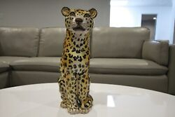 Rare Leopard Mid Century Cheetah Hand Painted Glazed Signed 450m 17 Italy