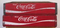 Pair Vintage Wooden Coke Crates Coca Cola Soda Wood Divided Boxes Mid Century