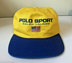 Vintage 90s 2 Tone Polo Sport Hat Made In Usa Nos Strap Back Sportsman Cap