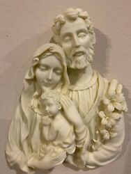 Vintage Holy Family Wall Plaque Ceramic resin 7 Inch