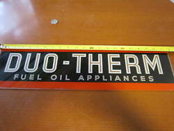 Vintage Glass Duo-therm Fuel Oil Appliance Sign 21 7/8 X 6