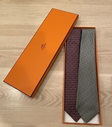 Set Of 2 -100 Silk Hermes Ties, Burgundy With Anchors And Celedon Geometric