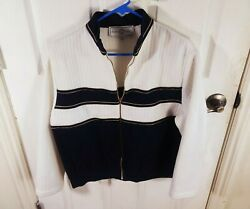 ST JOHN EVENING WHITE GOLD WOMENS ZIP UP SWEATER KNIT SZ L LARGE $36.00