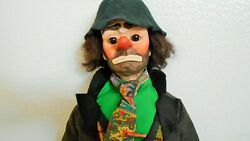 Vintage Emmett Kelly Wee Willie 18 Doll/cloth And Bisque/with Stand And Dressed