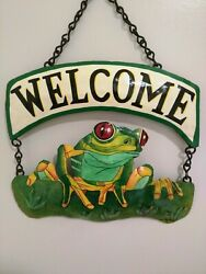Red Eyed Tree Frog Welcome Sign  Steel Drum Sign Made In Haiti  Signed  Nos