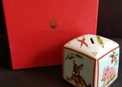 Lynn Chase Barn Dance Square Coin Bank 1997 Design W Box Pig Cow Rooster Donkey