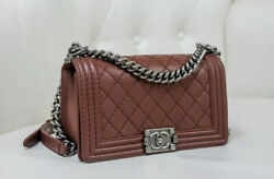 VERIFIED Authentic CHANEL Quilted RARE Color Brown Leather Medium Boy Flap Bag $2599.00