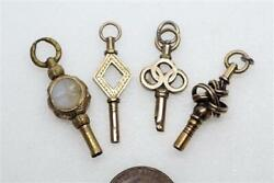 Lot Of 4 Antique English Gold Filled And Gilt Metal Watch Key Fobs / Charms