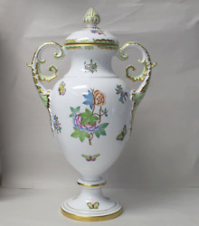 Herend China Queen Victoria Vbo Massive 19 3/4andrdquo Covered Urn Vase 6490