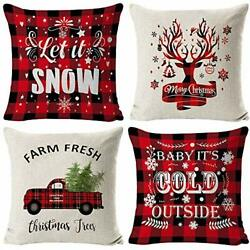 """Christmas Pillow Covers 18x18"""" Throw Pillow Cases Set of 4 for Christmas Decor"""