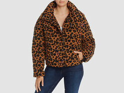 628 Apparis Womens Brown Paula Leopard Print Puffer Quilted Jacket Coat Size S