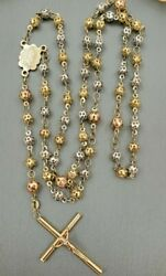14k Solid Multi Tone Gold Virgin Mary Beads Rosary Necklace Rosario-rp49