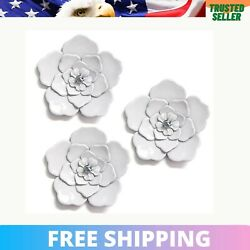 Stratton Home Decoration White Metal Wall Flowers Handcrafted Outdoor Set of 3