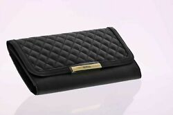 NEW Guess Women#x27;s Slim Black Quilted Faux Leather Clutch Purse Evening Bag $29.95