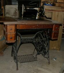 Antique Singer Treadle Sewing Machine With Cabinet And Drawers 1916 G5033646