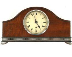 Good Mahogany Mantle Clock With Silver Plated Mounts
