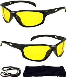 HD Ultra Night Vision Sun Glasses Aviator Mens Womens Yellow Driving View Lens $5.95
